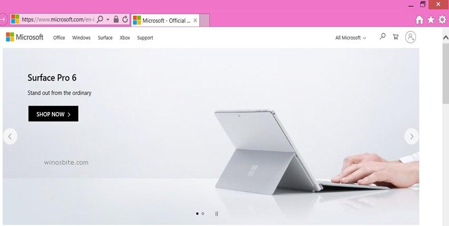 Microsoft.com в Internet Explorer
