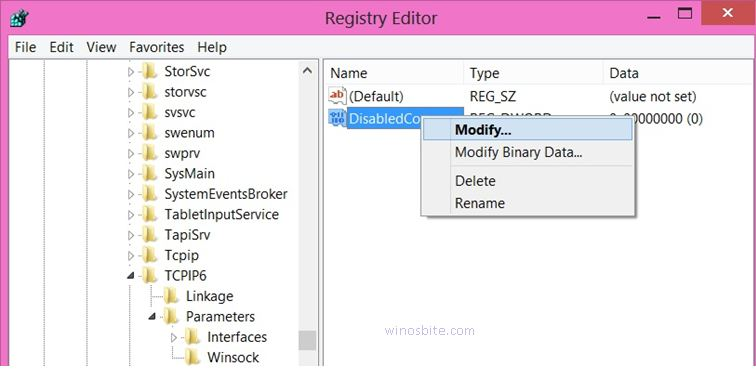 Измените DisabledComponents и нажмите Modify