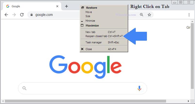 Открыть настройки закрытой вкладки в Chrome