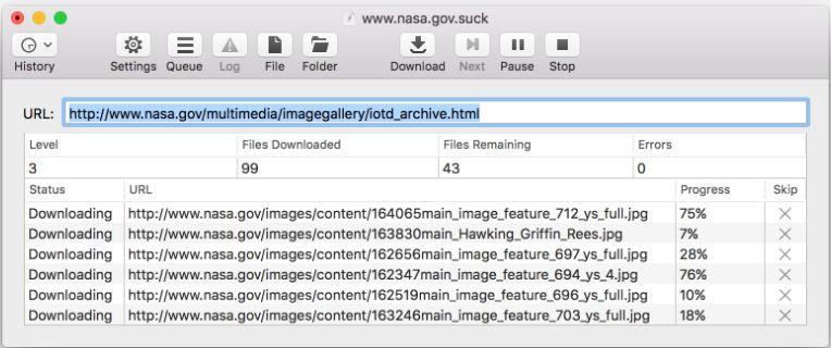 Программное обеспечение Sitesucker для MacOS