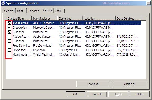 Параметр конфигурации системы для программы запуска