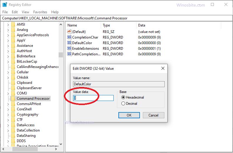 Изменить цвет cmd с помощью реестра в Windows 10