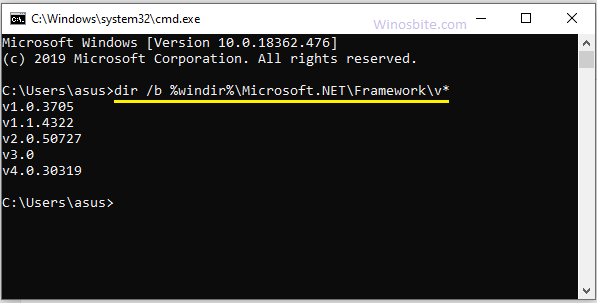 CMD для поиска версии .Net, установленной в Windows 10