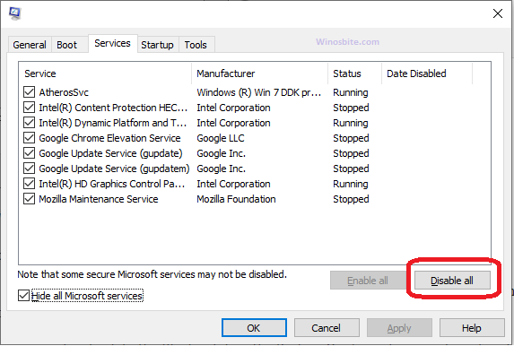 Отключить сторонние службы Windows 10