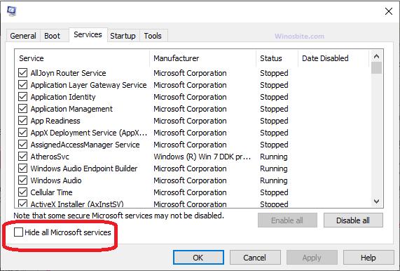 Скрыть все сервисы Microsoft