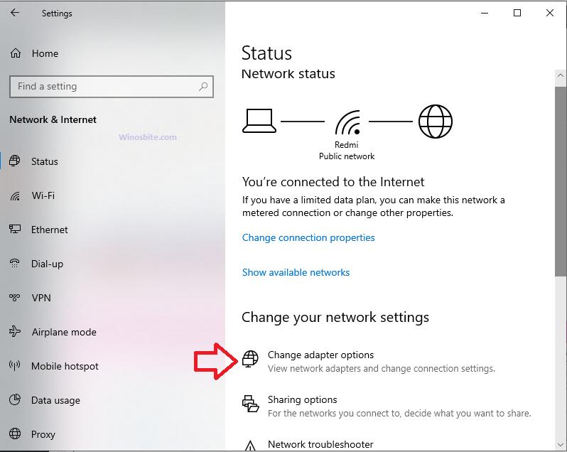 Состояние сети в Windows 10
