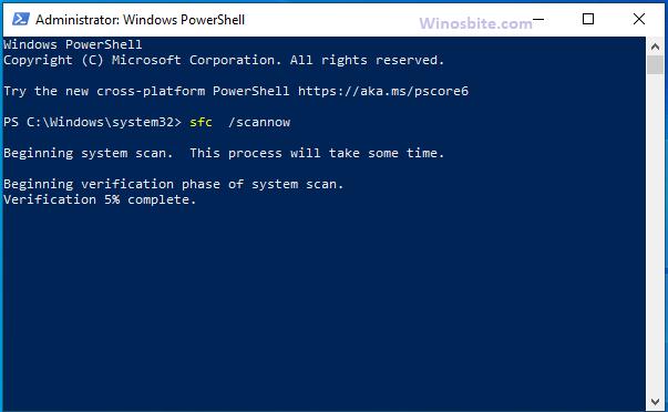 SFC Scannow PowerShell в Windows 10