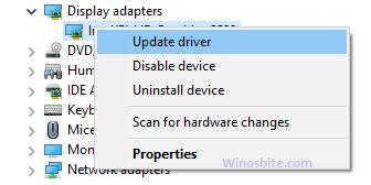 Обновите драйвер для видеоадаптеров