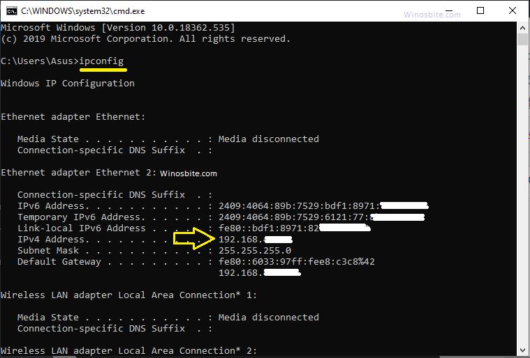 Проверьте IP-адрес с помощью CMD ipconfig на ПК с Windows