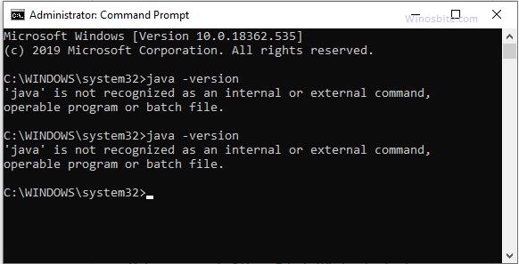 Проверьте версию Java, установленную в Windows или нет