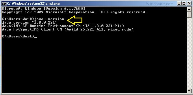 Проверьте версию Java на вашем ПК с Windows us Командная строка