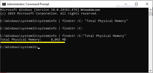 Команда для отображения общего объема оперативной памяти в Windows