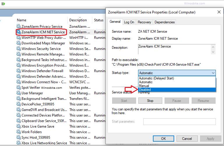 Отключить Zonealarm с помощью свойств служб