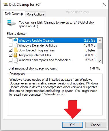 Очистка диска Удалить файлы