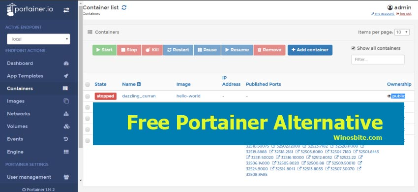 Бесплатная альтернатива Portainer для Windows