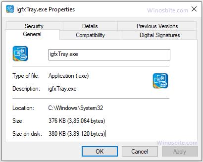 Информация о файле igfxtray.exe