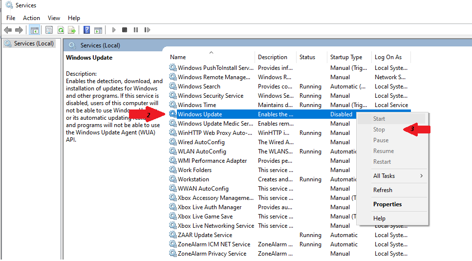В службах обновления Windows щелкните правой кнопкой мыши стоп