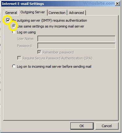 Настройки электронной почты Интернета в Outlook