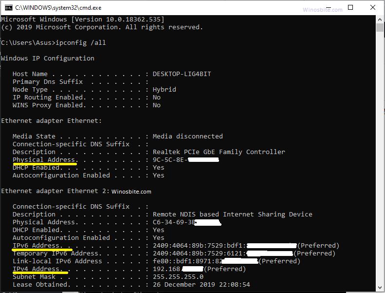 ipconfig вся командная строка для проверки IP-адреса в Windows 10 и более ранних версиях