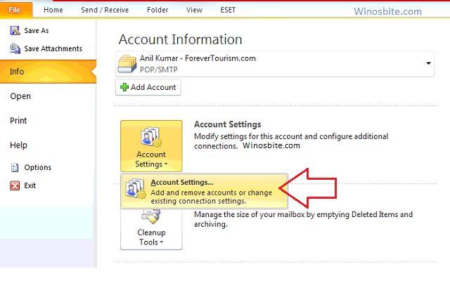 Параметры учетной записи Microsoft Outlook 2010