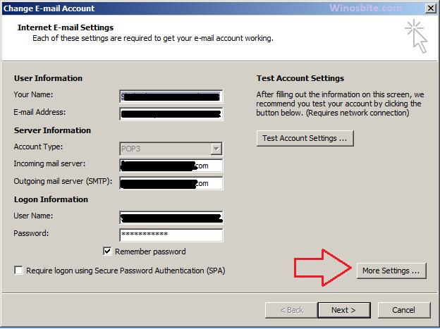 Настройки электронной почты Microsoft Outlook