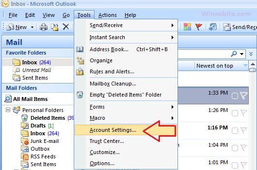 Параметры учетной записи инструментов Outlook