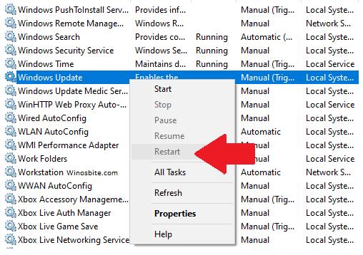 Перезапустите службу Windows Update.
