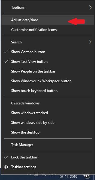Щелкните правой кнопкой мыши и выберите настройку даты и времени