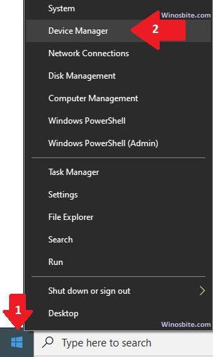 Кнопка Пуск щелкните правой кнопкой мыши диспетчер устройств Windows 10
