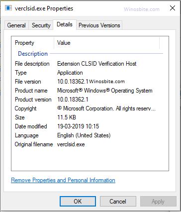 Информация о файле Verclsid.exe