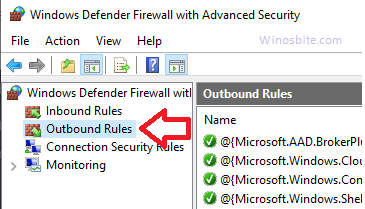 Правила исходящего трафика брандмауэра Защитника Windows