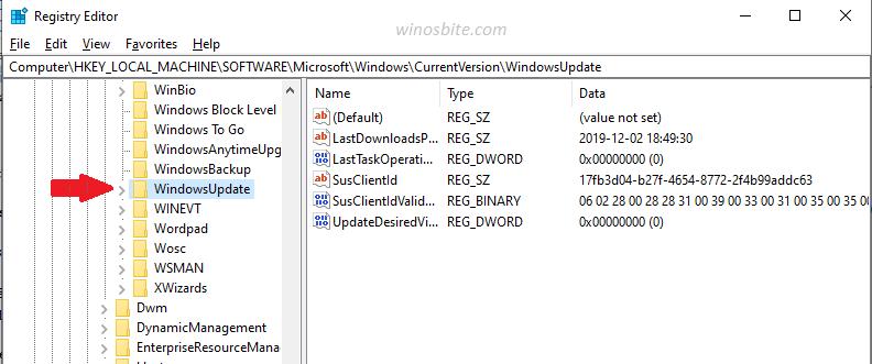 Параметр Центра обновления Windows в редакторе реестра