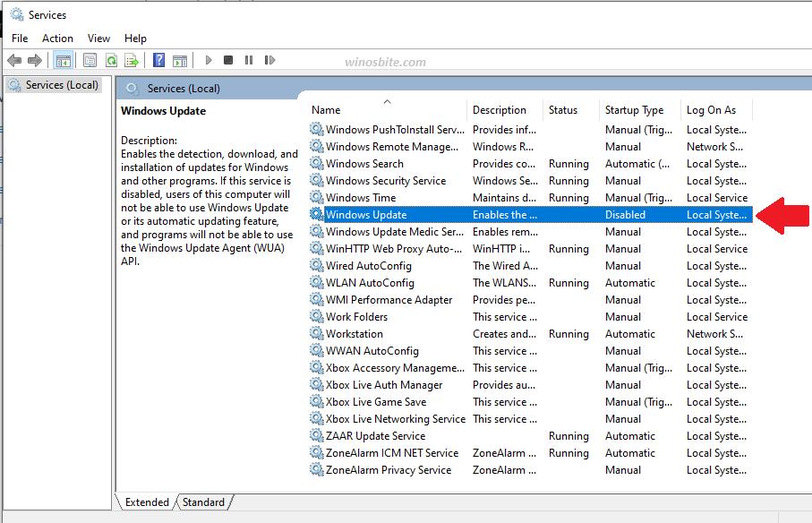 Параметр обновления Windows в службах