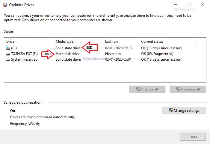 Проверьте HDD или SSD с помощью дефрагментации в Windows