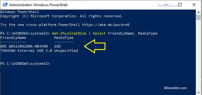 Найдите SSD или HDD с помощью команды powershell