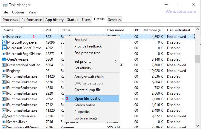 Расположение открытого файла lsass