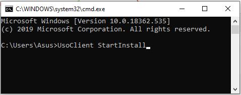 Командная строка Центра обновления Windows для Windows 10