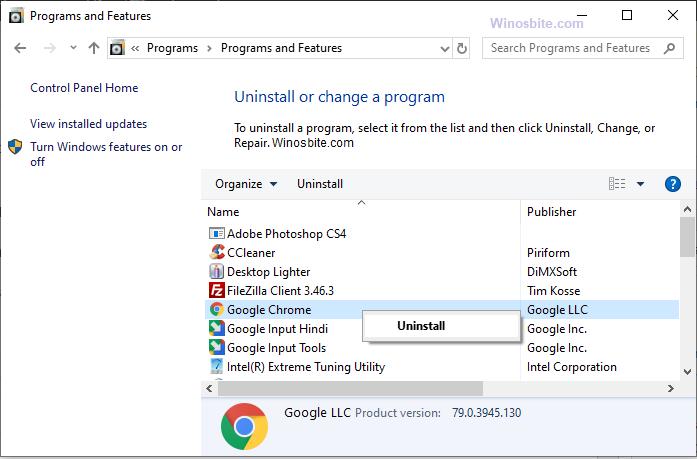 Удаление Chrome в Windows 10