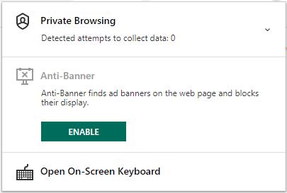 Kaspesky Private Browsing в расширении Chrome