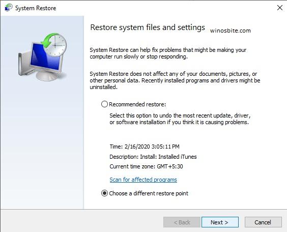 Восстановить системные файлы и настройки