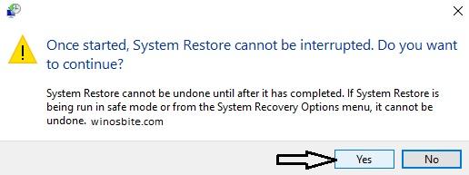 Предупреждение о восстановлении системы