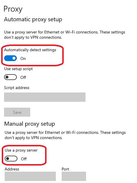 Настройки прокси для Windows 10