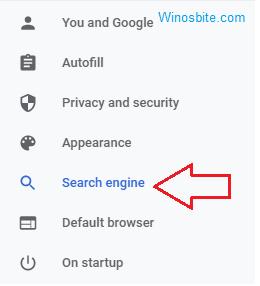 Настройки поисковой системы в Chrome