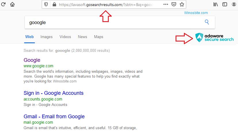Удалите Adaware secure search / gosearchresults из браузера Chrome и Mozilla