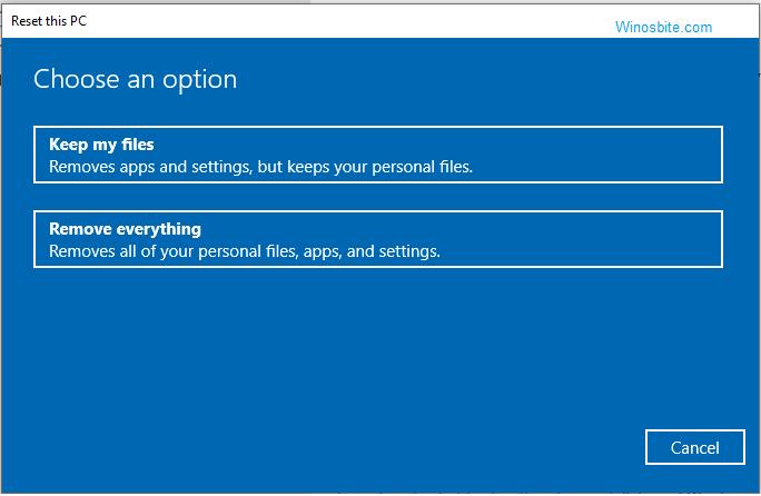 Сбросить этот параметр ПК в Windows 10