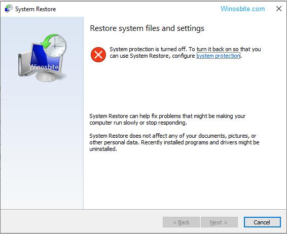Восстановление системы в Windows 10