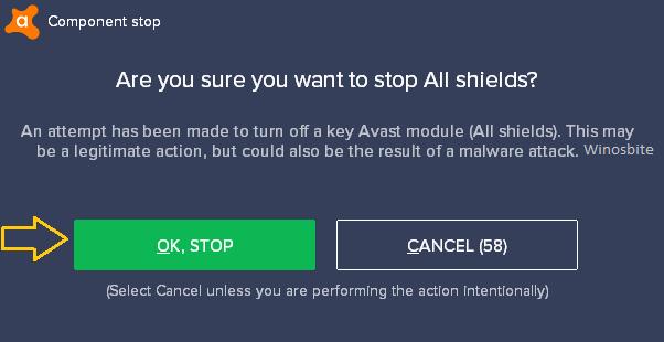 Подтвердите отключение Avast Shield в Windows 10