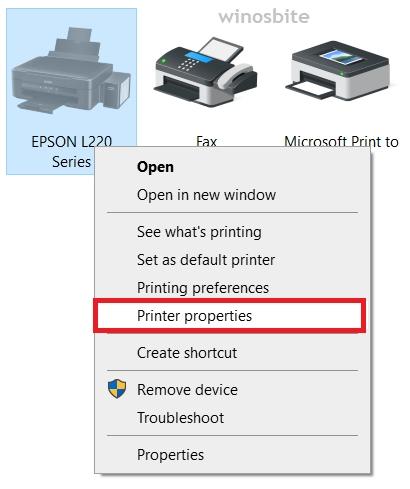 свойства принтера