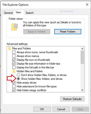 Показать настройки скрытых файлов в Windows 10