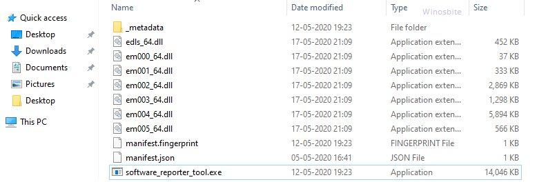 расположение файла Software_reporter_tool.exe